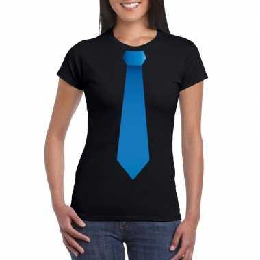 Shirt blauwe stropdas zwart dames