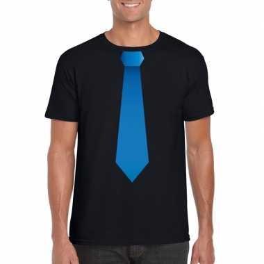 Shirt blauwe stropdas zwart heren