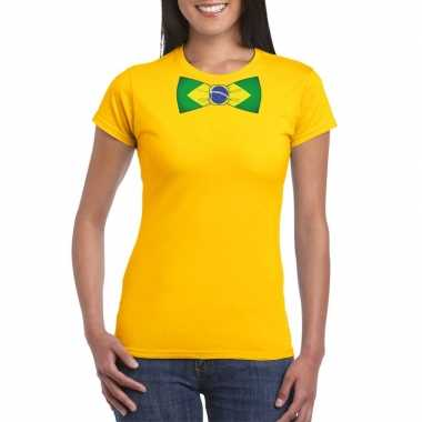 Shirt brazilie strikje geel dames