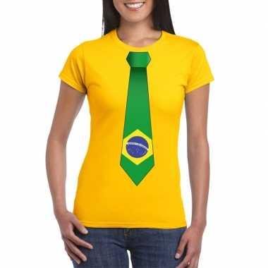 Shirt brazilie stropdas geel dames