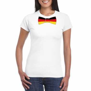 Shirt duitsland strikje wit dames