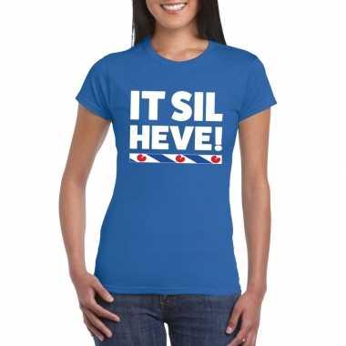 Shirt friesetekst it sil heve blauw dames