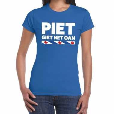 Shirt friesetekst piet giet net oan blauw dames