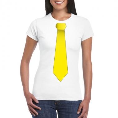 Shirt gele stropdas wit dames