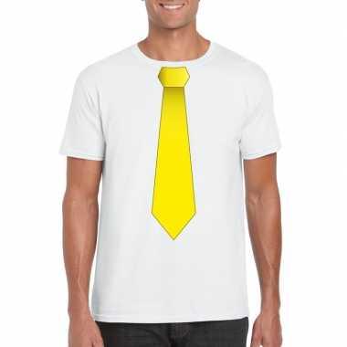 Shirt gele stropdas wit heren