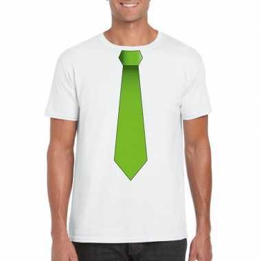 Shirt groene stropdas wit heren