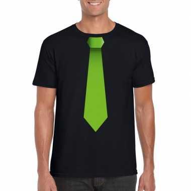 Shirt groene stropdas zwart heren