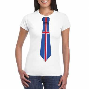 Shirt ijsland stropdas wit dames