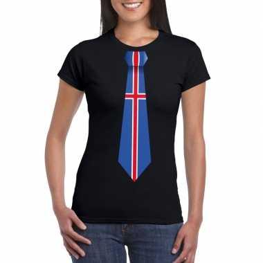 Shirt ijsland stropdas zwart dames