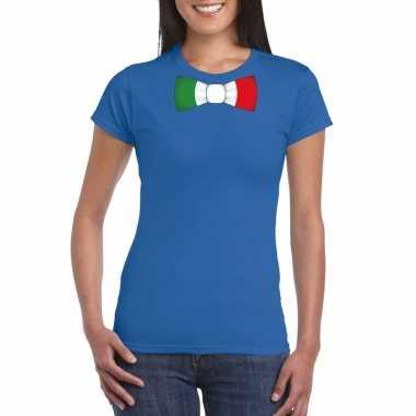 Shirt italie strikje blauw dames