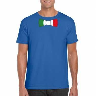 Shirt italie strikje blauw heren