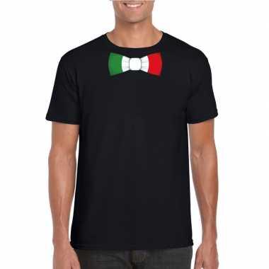 Shirt italie strikje zwart heren
