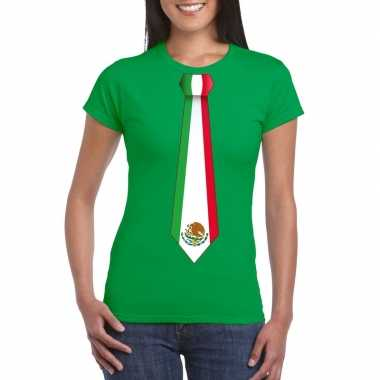 Shirt mexico stropdas groen dames