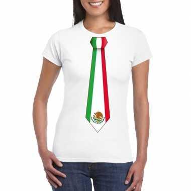 Shirt mexico stropdas wit dames