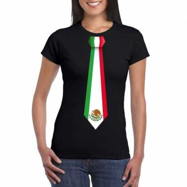 Shirt mexico stropdas zwart dames