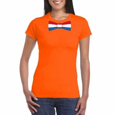 Shirt nederland strikje oranje dames