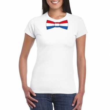 Shirt nederland strikje wit dames