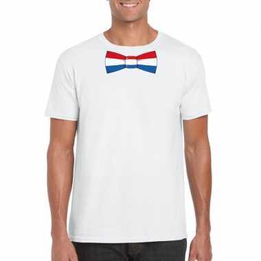 Shirt nederland strikje wit heren
