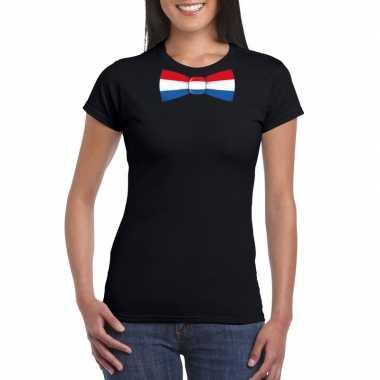 Shirt nederland strikje zwart dames