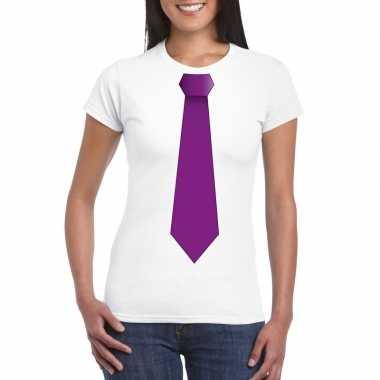 Shirt paarse stropdas wit dames