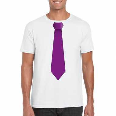 Shirt paarse stropdas wit heren