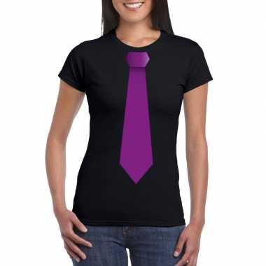 Shirt paarse stropdas zwart dames