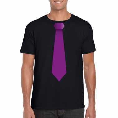 Shirt paarse stropdas zwart heren