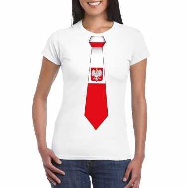 Shirt polen stropdas wit dames