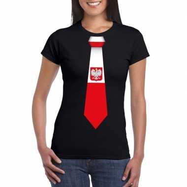 Shirt polen stropdas zwart dames