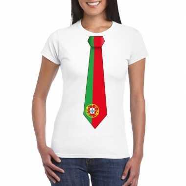 Shirt portugal stropdas wit dames