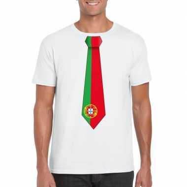 Shirt portugal stropdas wit heren