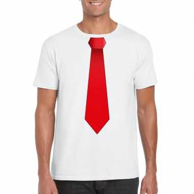 Shirt rode stropdas wit heren