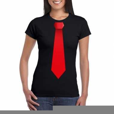 Shirt rode stropdas zwart dames