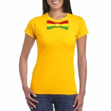 Shirt rood/geel/groene limburg strik geel dames