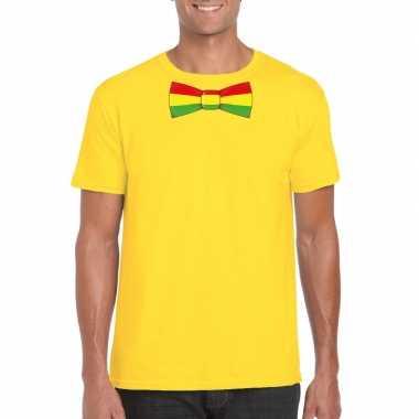 Shirt rood/geel/groene limburg strik geel heren