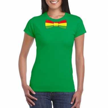 Shirt rood/geel/groene limburg strik groen dames