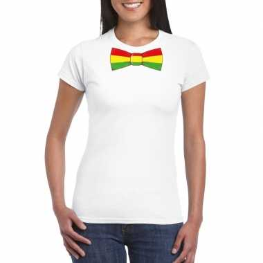 Shirt rood/geel/groene limburg strik wit dames
