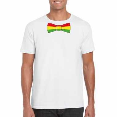 Shirt rood/geel/groene limburg strik wit heren