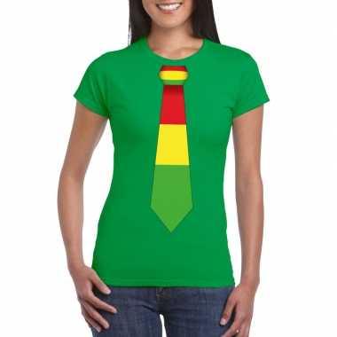 Shirt rood/geel/groene limburg stropdas groen dames