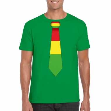 Shirt rood/geel/groene limburg stropdas groen heren