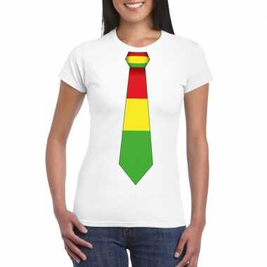 Shirt rood/geel/groene limburg stropdas wit dames