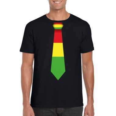 Shirt rood/geel/groene limburg stropdas zwart heren