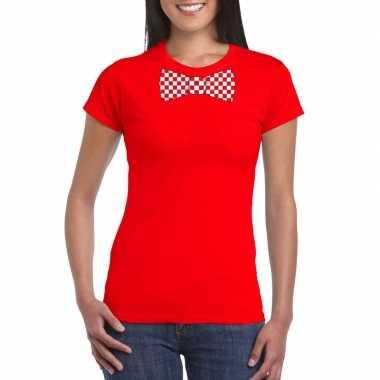 Shirt rood/witte brabant strik rood dames