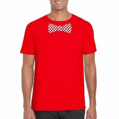 Shirt rood/witte brabant strik rood heren