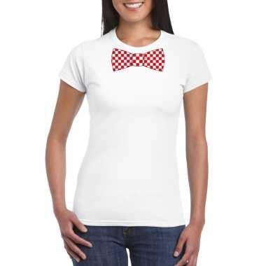 Shirt rood/witte brabant strik wit dames