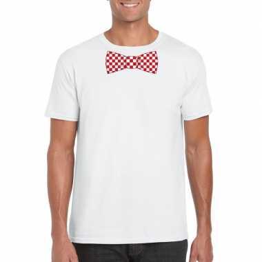 Shirt rood/witte brabant strik wit heren