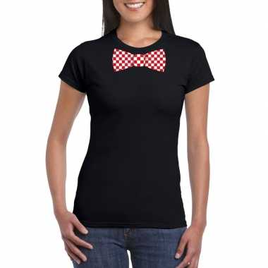 Shirt rood/witte brabant strik zwart dames
