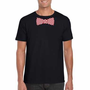 Shirt rood/witte brabant strik zwart heren