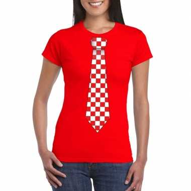 Shirt rood/witte brabant stropdas rood dames