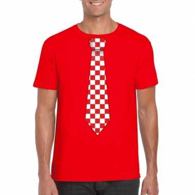 Shirt rood/witte brabant stropdas rood heren